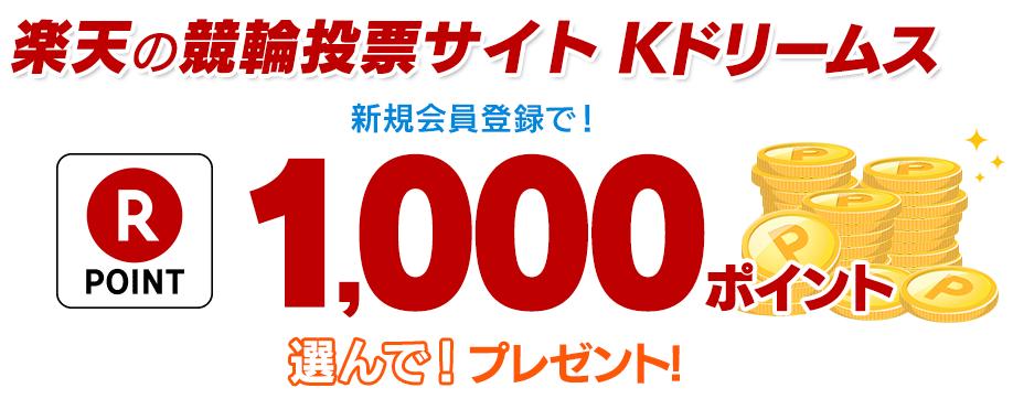 Rakuten Kドリームス1000ポイントプレゼント